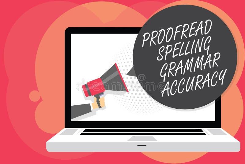 Word het schrijven de tekst Gecorrigeerde Nauwkeurigheid van de Spellingsgrammatica Het bedrijfsconcept voor grammaticaal correct royalty-vrije illustratie