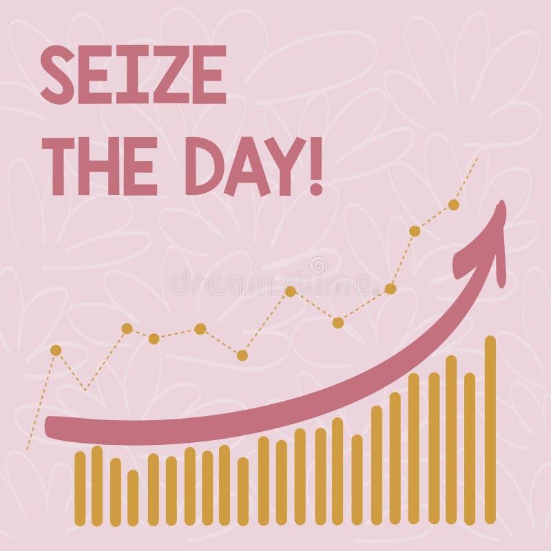 Word het schrijven de tekst grijpt de Dag Het bedrijfsconcept voor Greepkansen heeft het optimisme van de motivatieinspiratie stock illustratie