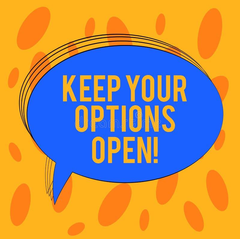 Word het schrijven de tekst houdt Uw Opties Open Het bedrijfsconcept voor Manage beschouwt als alle mogelijke alternatieven Leeg  royalty-vrije illustratie