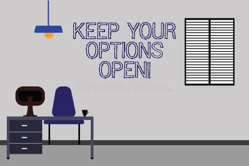 Word het schrijven de tekst houdt Uw Opties Open Het bedrijfsconcept voor Manage overweegt alle mogelijke alternatieven Work Spac stock illustratie