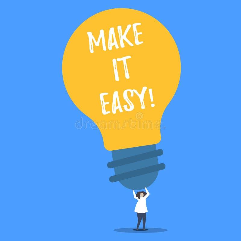 Word het schrijven de tekst maakt het Gemakkelijk Bedrijfsconcept voor Slimme benaderings Moeiteloze Vrij van zorgen of moeilijkh stock illustratie