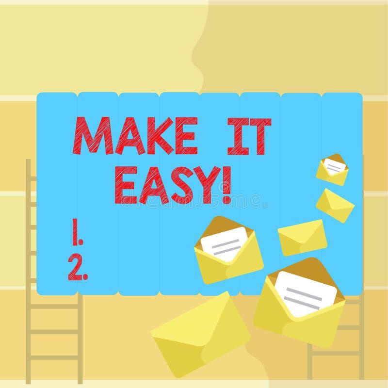 Word het schrijven de tekst maakt het Gemakkelijk Bedrijfsconcept voor Slimme benaderings Moeiteloze Vrij van zorgen of moeilijkh vector illustratie