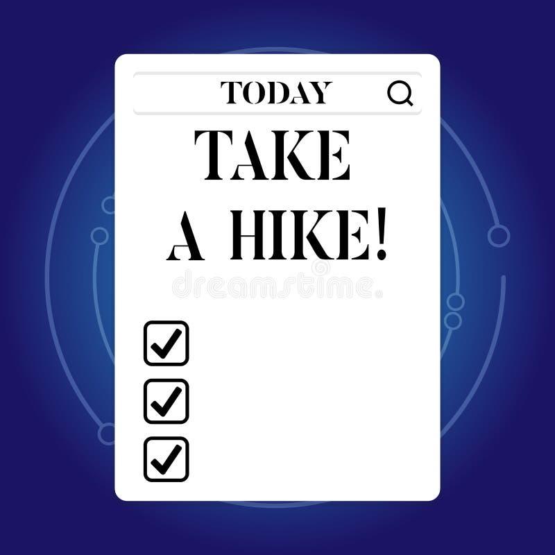 Word het schrijven de tekst neemt een Stijging Bedrijfsconcept voor Go op avonturenactiviteit backpacking die in aard leven royalty-vrije illustratie