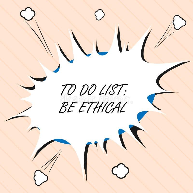 Word het schrijven de tekst om Lijst te doen Ethisch is Bedrijfsconcept voor plan of herinnering dat in een ethische cultuur word stock illustratie