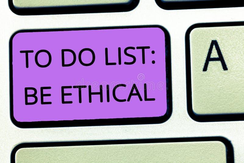 Word het schrijven de tekst om Lijst te doen Ethisch is Bedrijfsconcept voor plan of herinnering dat in een ethische cultuur word stock afbeeldingen