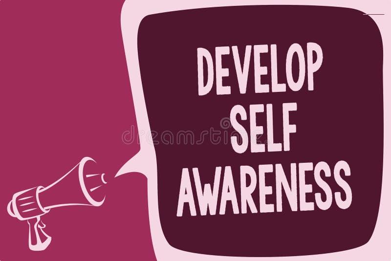 Word het schrijven de tekst ontwikkelt Zelfbewustzijn Bedrijfsconcept voor verhogings bewuste kennis van eigen karakter die het d stock illustratie