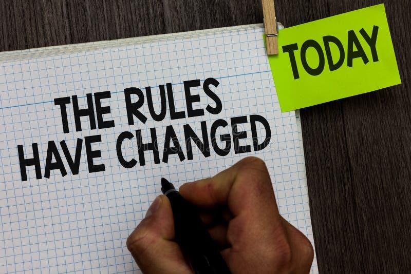Word het schrijven de tekst is de Regels veranderd Het bedrijfsconcept voor de overeenkomst of het Beleid heeft een nieuwe reeks  royalty-vrije stock fotografie