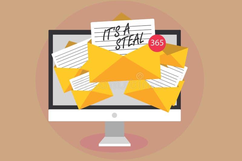 Word het schrijven de tekst het s is Steal Bedrijfsconcept voor het Krijgen van vertrouwelijke het overtreden van informationscyb vector illustratie