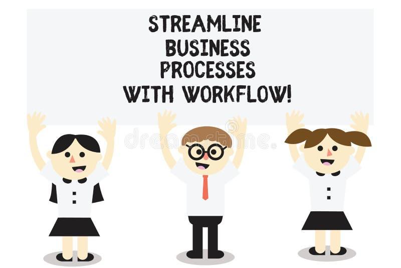 Word het schrijven de tekst stroomlijnt Bedrijfsprocessen met Werkschema Bedrijfsconcept voor Computer sociaal media proces Drie vector illustratie