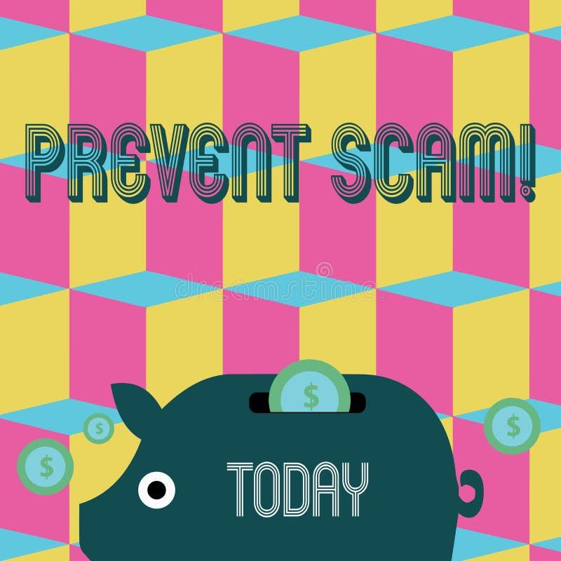 Word het schrijven de tekst verhindert Scam Bedrijfsconcept voor Geld van Piggy van consumentenbeschermings het frauduleuze trans royalty-vrije illustratie
