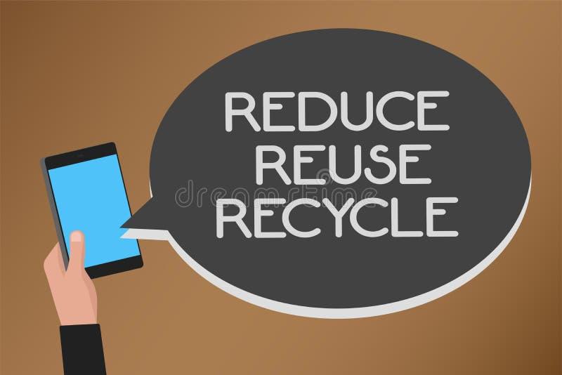 Word het schrijven de tekst vermindert Hergebruik Kringloop Het bedrijfsconcept voor manieren kan afval elimineren beschermt uw b vector illustratie