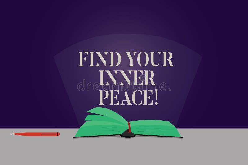 Word het schrijven de tekst vindt Uw Binnenvrede Bedrijfsconcept voor Vreedzame stijl van de Pagina's van de de Meditatiekleur va stock foto's