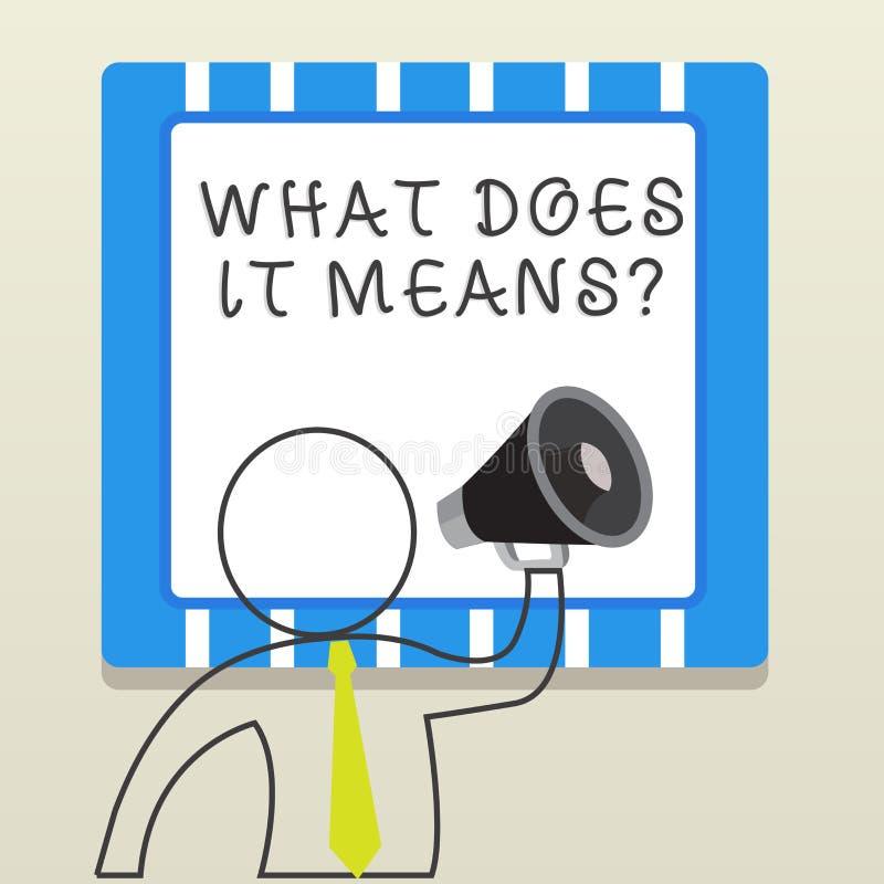 Word het schrijven de tekst wat doet het betekent Vraag Het bedrijfsconcept voor het vragen betekenend iets zei en begrijpt niet stock illustratie
