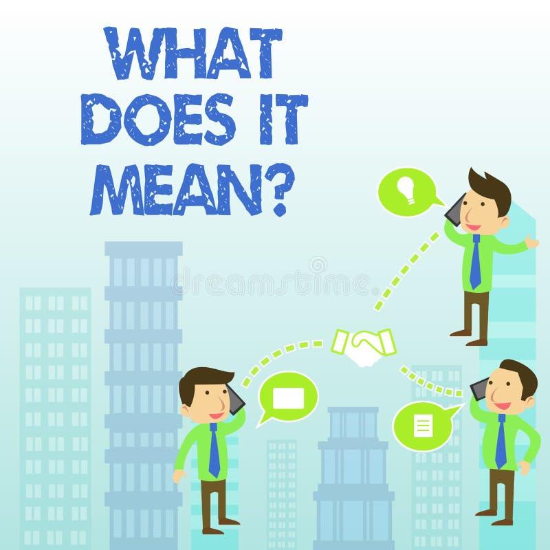 Word het schrijven de tekst wat doet het betekent Vraag Het bedrijfsconcept voor het vragen betekenend iets zei en begrijpt niet royalty-vrije illustratie