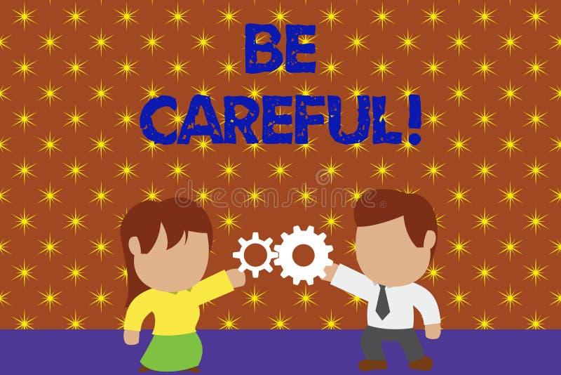 Word het schrijven de tekst Zorgvuldig is Bedrijfsconcept voor het ervoor zorgen van het vermijden van potentiële gevaarsongeluk  vector illustratie