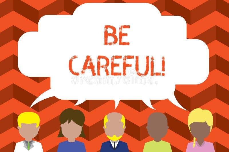 Word het schrijven de tekst Zorgvuldig is Bedrijfsconcept voor het ervoor zorgen van het vermijden van potentieel gevaarsongeluk  vector illustratie