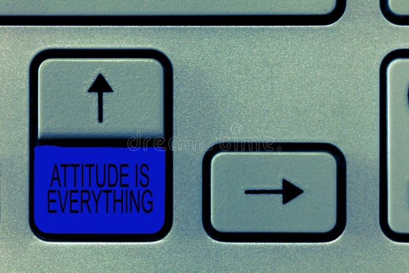Word het schrijven de teksthouding is alles Het bedrijfsconcept voor Positieve Vooruitzichten is de Gids aan het Goed Leven stock afbeelding