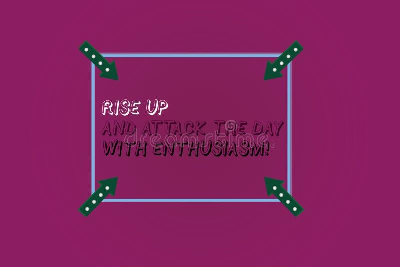 Word het schrijven de tekststijging omhoog en valt de Dag met Enthousiasme aan Het bedrijfsconcept voor is enthousiast geïnspiree vector illustratie