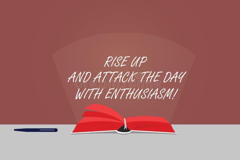 Word het schrijven de tekststijging omhoog en valt de Dag met Enthousiasme aan Het bedrijfsconcept voor is gemotiveerde geïnspire royalty-vrije illustratie