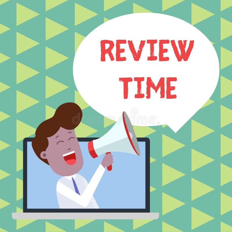 Word het schrijven de Tijd van het tekstoverzicht Het bedrijfsconcept voor om over iets te denken of te spreken plaatste opnieuw  vector illustratie
