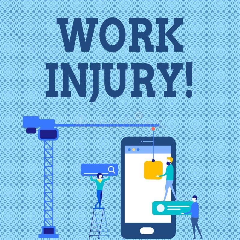 Word het schrijven de Verwonding van het tekstwerk Bedrijfsconcept voor ongeval dat zich tijdens en als resultaat van het werk Pe vector illustratie