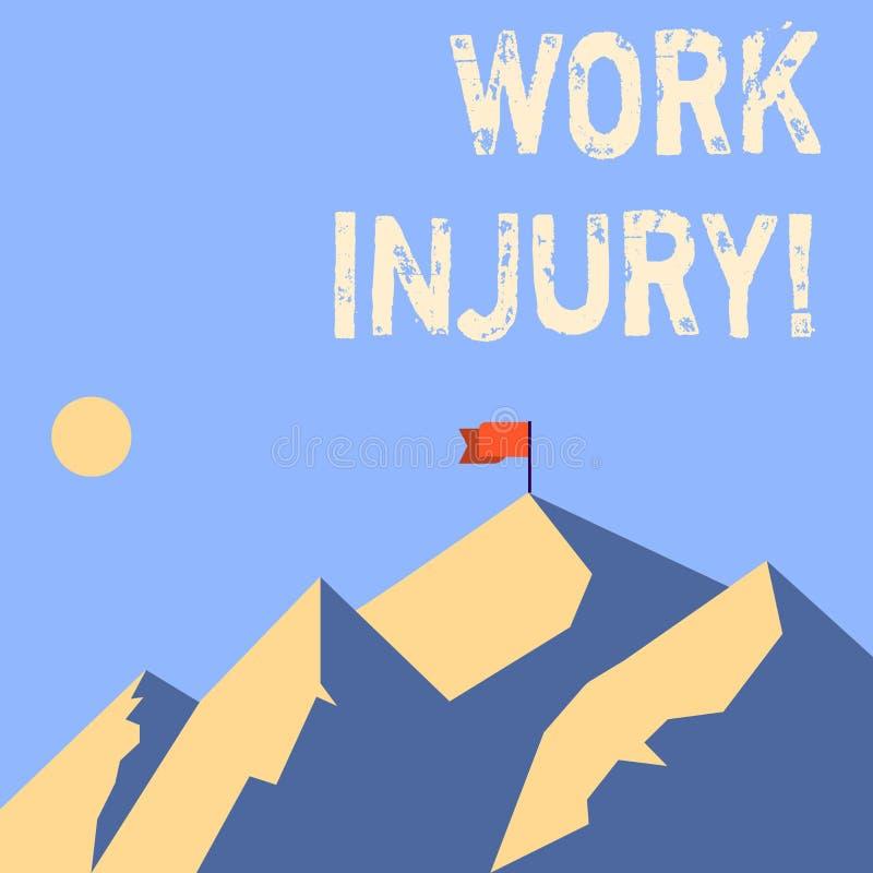 Word het schrijven de Verwonding van het tekstwerk Bedrijfsconcept voor ongeval dat zich tijdens en als resultaat van werkende Be royalty-vrije illustratie