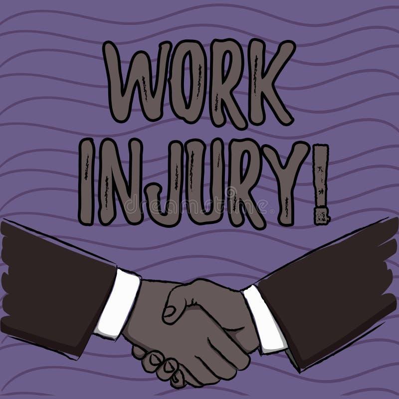 Word het schrijven de Verwonding van het tekstwerk Bedrijfsconcept voor ongeval dat zich tijdens en als resultaat van werkende Za royalty-vrije illustratie
