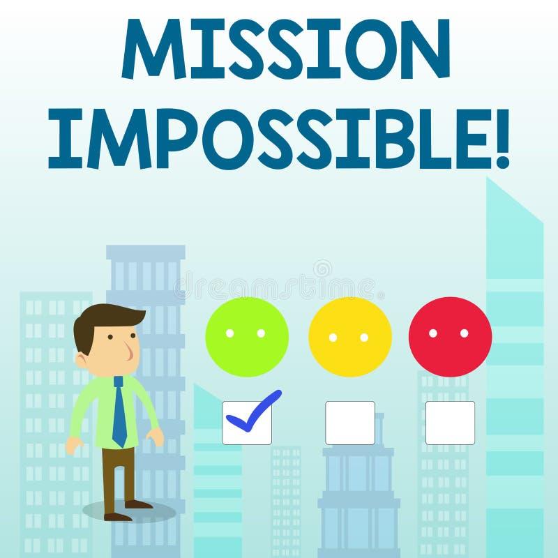 Word het schrijven Onmogelijke tekstopdracht Bedrijfsconcept voor Moeilijke Gevaarlijke Taak Unimaginable Taak vector illustratie