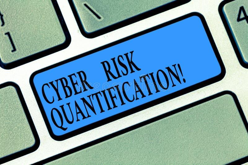 Word het schrijven het Risicogetalsmatige weergave van tekstcyber Het bedrijfsconcept voor handhaaft een aanvaardbaar niveau van  royalty-vrije stock afbeeldingen