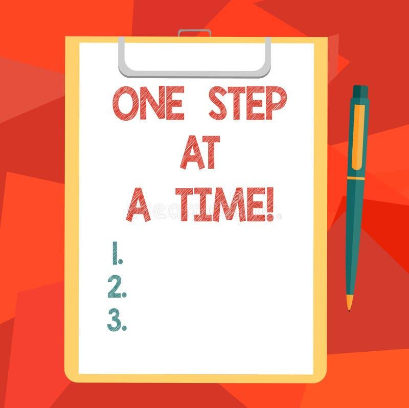 Word het schrijven tekst Één Stap tegelijkertijd Het bedrijfsconcept voor Kleine acties gaat langzaam maar regelmatig successpati stock illustratie