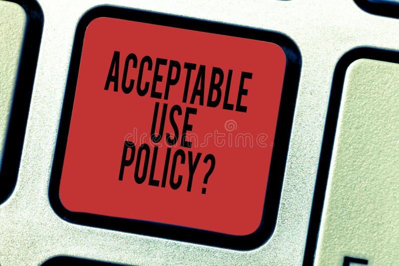 Word het schrijven tekst Aanvaardbaar Gebruik Policyquestion Bedrijfsconcept voor reeks regels die door de eigenaar van een netwe stock afbeelding