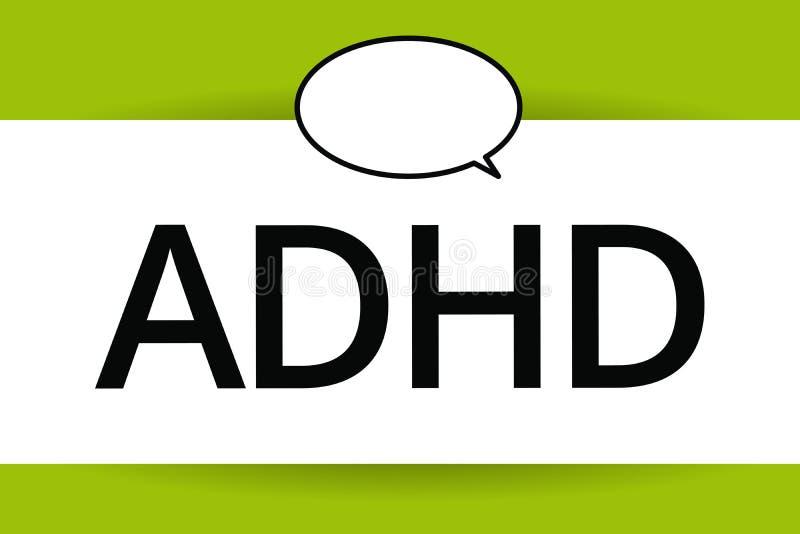 Word het schrijven tekst Adhd Bedrijfsconcept voor Geestelijke gezondheidswanorde van kinderen Overactief Probleem die aandacht b royalty-vrije illustratie