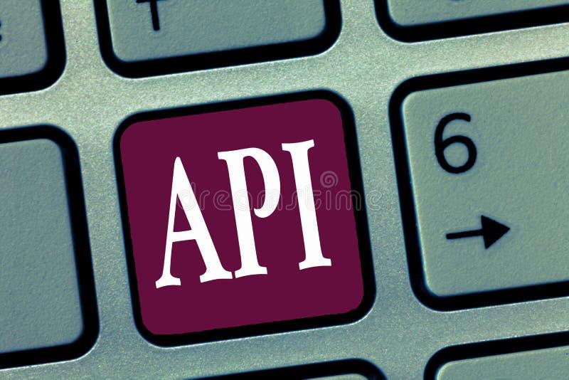 Word het schrijven tekst Api Bedrijfsconcept voor Hulpmiddelen om softwarecomputer de protocollen van programmeringsroutines te b stock fotografie