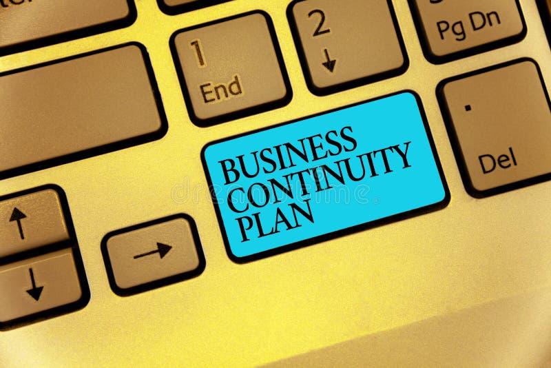 Word het schrijven tekst Bedrijfscontinuïteitsplan Bedrijfsconcept voor het creëren van van de overeenkomsten potentieel bedreigi stock afbeelding