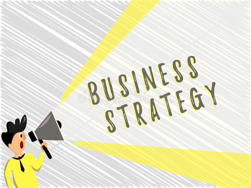 Word het schrijven tekst Bedrijfsstrategie Bedrijfsconcept voor het plan van het Beheersspel om gewenst doel of doel te bereiken vector illustratie