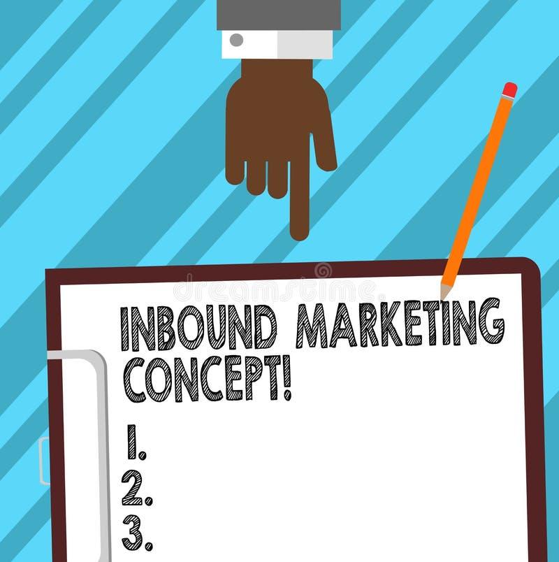 Word het schrijven tekst Binnenkomend Marketing Concept Bedrijfsconcept voor strategie die zich bij het aantrekken van de analyse stock illustratie