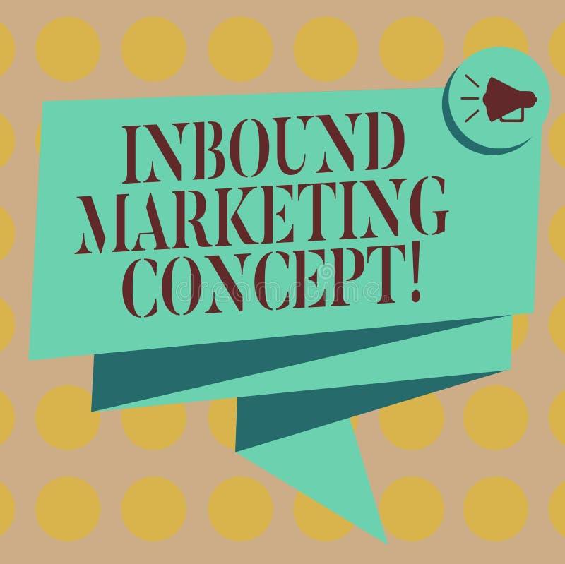 Word het schrijven tekst Binnenkomend Marketing Concept Het bedrijfsconcept voor strategie die zich bij het aantrekken van klante stock illustratie