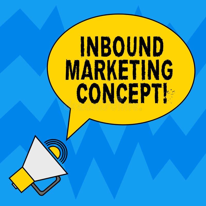 Word het schrijven tekst Binnenkomend Marketing Concept Bedrijfsconcept voor strategie die zich bij het aantrekken van klanten Le stock illustratie