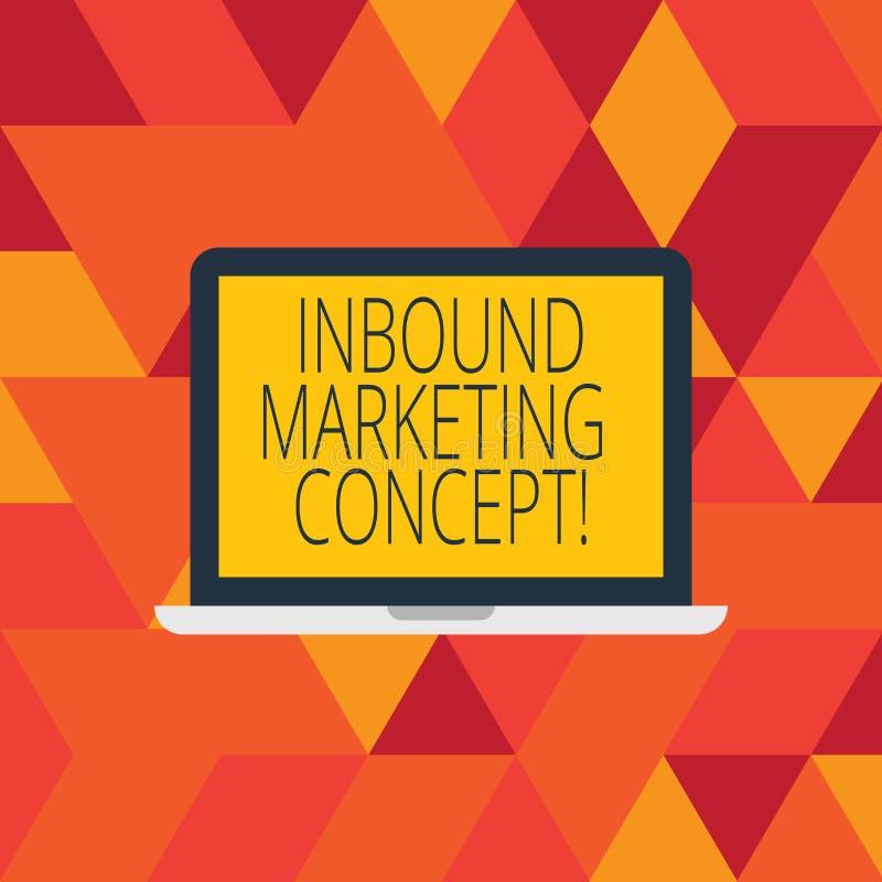 Word het schrijven tekst Binnenkomend Marketing Concept Bedrijfsconcept voor strategie die zich bij het aantrekken van klantenlap royalty-vrije illustratie