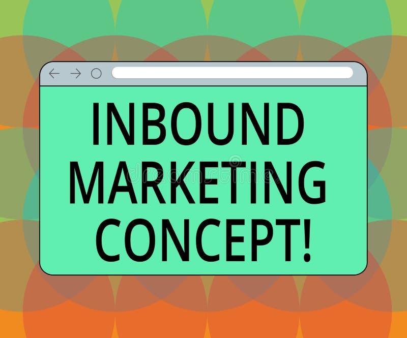 Word het schrijven tekst Binnenkomend Marketing Concept Bedrijfsconcept voor strategie die zich bij het aantrekken van het Scherm royalty-vrije illustratie