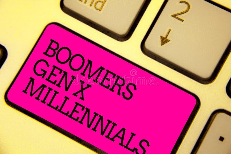 Word het schrijven tekst Boomers Gen X Millennials Bedrijfsconcept voor over het algemeen nagedacht om ongeveer dertig van de Toe stock afbeeldingen