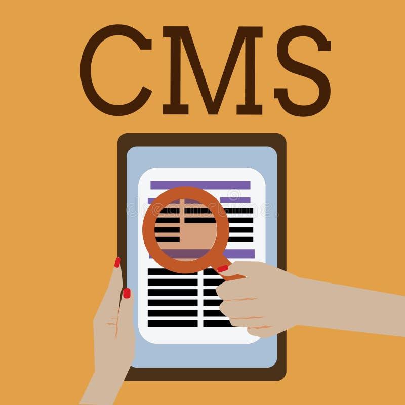 Word het schrijven tekst Cms Het bedrijfsconcept voor beheert de verwezenlijking en de hervorming van de digitale toepassing van  royalty-vrije illustratie
