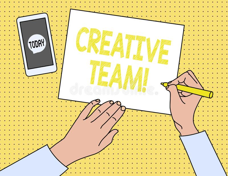 Word het schrijven tekst Creatief Team Bedrijfsconcept voor Groep het tonen die met de reclameidee?n op de proppen komt royalty-vrije illustratie