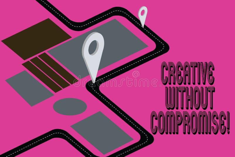 Word het schrijven tekst Creatief zonder Compromis Bedrijfsconcept voor een maatregel van goodwill en weinig originaliteitsWegenk vector illustratie