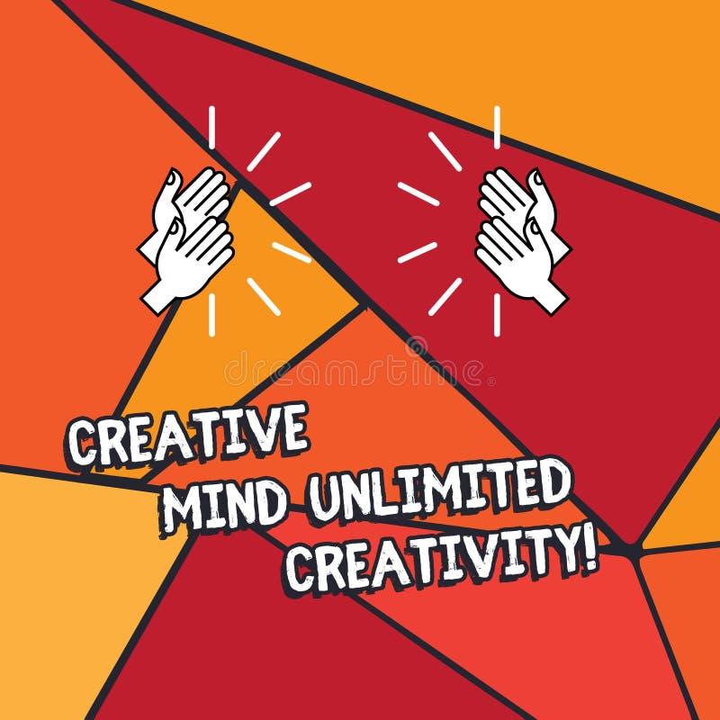 Word het schrijven tekst Creatieve Mening Onbeperkte Creativiteit Bedrijfsconcept voor Hoogtepunt van originele ideeën briljante  royalty-vrije illustratie