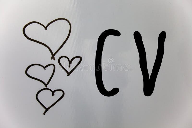 Word het schrijven tekst Cv Het bedrijfsconcept voor Curriculum vitae hervat de witte bedelaars van Infographics Job Searching Em royalty-vrije stock afbeelding