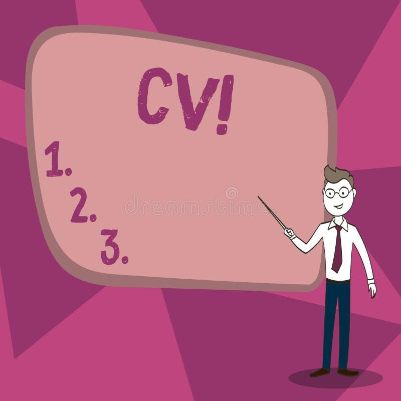 Word het schrijven tekst Cv Het bedrijfsconcept voor Curriculum vitae hervat Infographics-Baan Zoekend Werknemersrekrutering stock illustratie