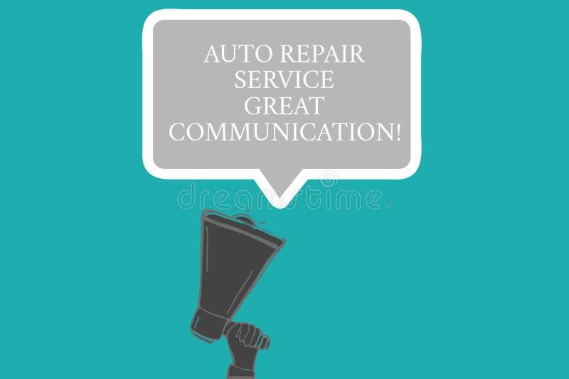 Word het schrijven tekst de Autoreparatiedienst Grote Mededeling Bedrijfsconcept voor de analysehand van HU van de Auto mechanisc royalty-vrije stock afbeelding