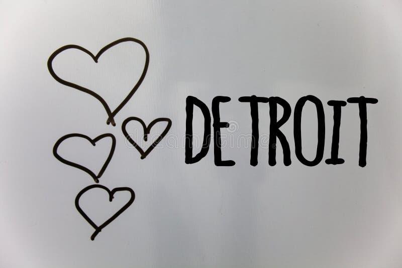 Word het schrijven tekst Detroit Bedrijfsconcept voor Stad in het Kapitaal van de Verenigde Staten van Amerika van de Harten witt stock fotografie