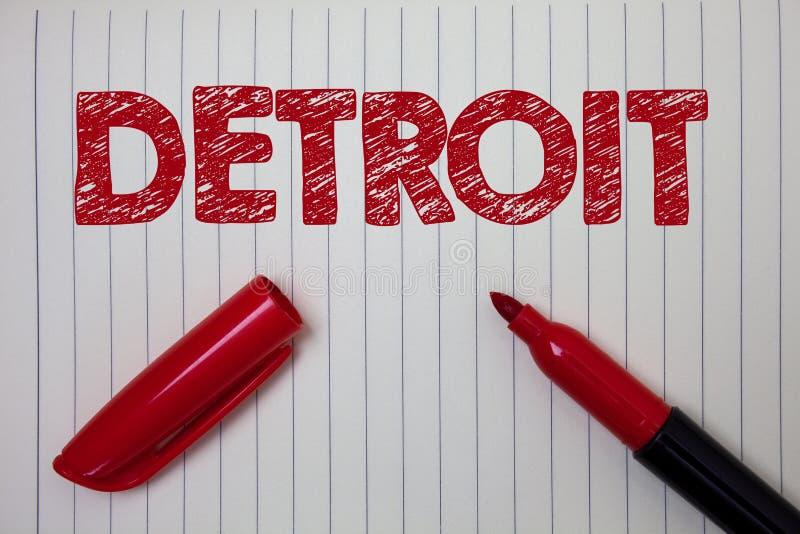 Word het schrijven tekst Detroit Bedrijfsconcept voor Stad in het Kapitaal van de Verenigde Staten van Amerika van het Notitieboe stock foto's
